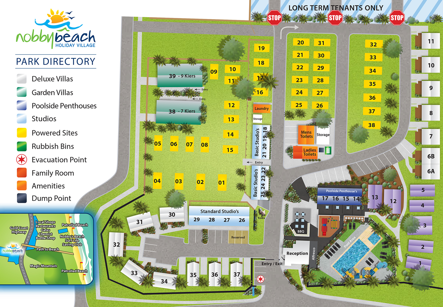 Nobby Beach Holiday Village Park Directory