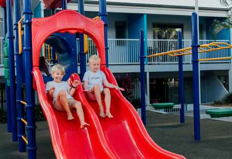 Kids will love our junior undercover playground, fitted with a double slide, monkey bars and firemans' pole