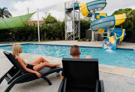 Heated pools, 35 metre water slide and a toddler pool