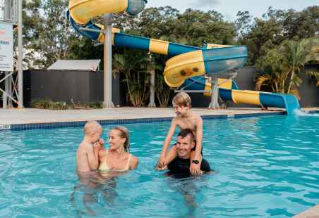 Family fun in the pool at Nobby Beach Holiday Village