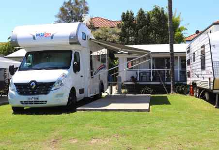 Large Motorhome on a Premium Powered Site