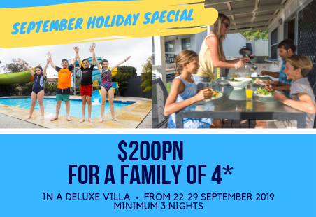 Stay 3 nights for $200pn for a family of 4 in a Deluxe Villa