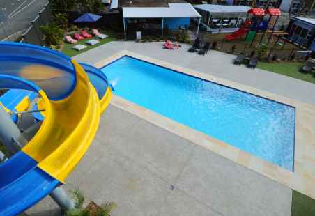View from top of 35m waterslide in large heated pool